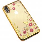 Чехол-накладка TOTO TPU electroplating edge with flower pattern iPhone X Gold