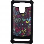 "Чехол-накладка TOTO Universal TPU case with image 4,5"" Hearts Black"