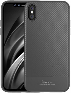Чехол-накладка Ipaky Carbon Fiber Series/ TPU Case with Carbon Fiber Pattern iPhone Xs Max Gray