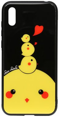 2019 cartoon case chehol chick chicken glass huawei nakladka print toto y6