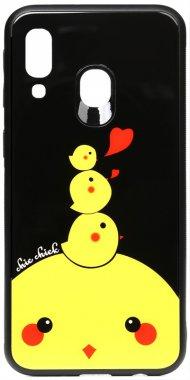 a40 cartoon case chehol chick chicken galaxy glass nakladka print samsung toto
