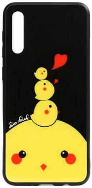 a50 cartoon case chehol chick chicken galaxy glass nakladka print samsung toto