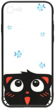 78catand apple cartoon case chehol fish glass iphone nakladka print toto