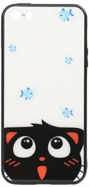 apple cartoon case catand chehol fish glass iphone nakladka print se5s5 toto