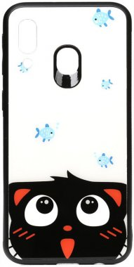 a40catand cartoon case chehol fish galaxy glass nakladka print samsung toto