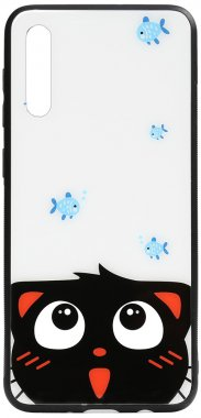 a50catand cartoon case chehol fish galaxy glass nakladka print samsung toto
