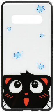 cartoon case catand chehol fish galaxy glass nakladka print s10plus samsung toto