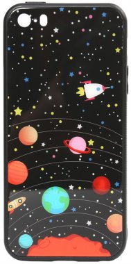 apple cartoon case chehol glass iphone nakladka planets print se5s5 toto