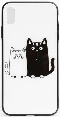 apple cartoon case cats chehol glass iphone nakladka print toto whiteblack xxs