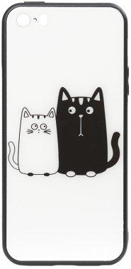 apple cartoon case cats chehol glass iphone nakladka print se5s5 toto whiteblack