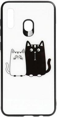 a20a30 cartoon case cats chehol galaxy glass nakladka print samsung toto whiteblack