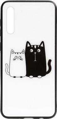 a50 cartoon case cats chehol galaxy glass nakladka print samsung toto whiteblack