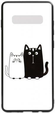 cartoon case cats chehol galaxy glass nakladka print s10 samsung toto whiteblack