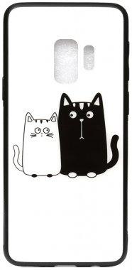 cartoon case cats chehol galaxy glass nakladka print s9 samsung toto whiteblack