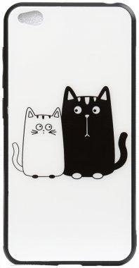 cartoon case cats chehol glass go nakladka print redmi toto whiteblack xiaomi