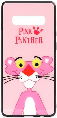 cartoon case chehol galaxy glass nakladka panther pink print s10 samsung toto