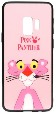 cartoon case chehol galaxy glass nakladka panther pink print s9 samsung toto