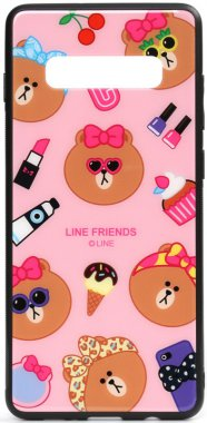 cartoon case chehol friends galaxy glass linc line nakladka print s10plus samsung toto