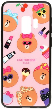cartoon case chehol friends galaxy glass linc line nakladka print s9 samsung toto