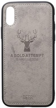 apple case chehol deer effect grey iphone leather nakladka shell toto with xxs
