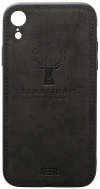 apple black case chehol deer effect iphone leather nakladka shell toto with xr