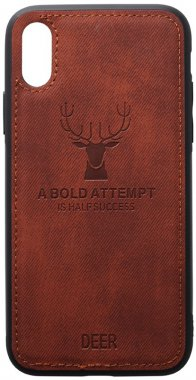 apple brown case chehol deer effect iphone leather nakladka shell toto with xsmax