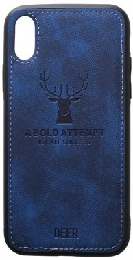 apple blue case chehol dark deer effect iphone leather nakladka shell toto with xsmax