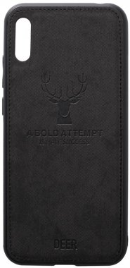 2019 black case chehol deer effect huawei leather nakladka shell toto with y6