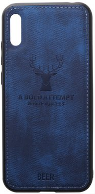 2019 blue case chehol dark deer effect huawei leather nakladka shell toto with y6