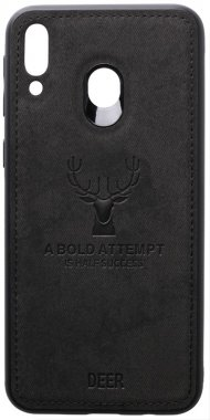 black case chehol deer effect galaxy leather m20 nakladka samsung shell toto with