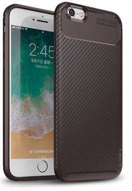 apple brown carbon case chehol fiber ipaky iphone nakladka seriessoft tpu66s