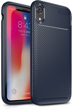 apple blue carbon case chehol fiber ipaky iphone nakladka seriessoft tpuxr