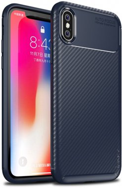 apple blue carbon case chehol fiber ipaky iphone nakladka seriessoft tpuxs