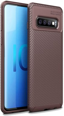 brown carbon case chehol fiber galaxy ipaky nakladka s10plus samsung seriessoft tpu