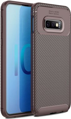 brown carbon case chehol fiber galaxy ipaky nakladka s10e samsung seriessoft tpu
