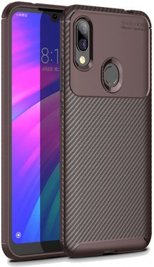 brown carbon case chehol fiber ipaky nakladka redmi seriessoft tpu7 xiaomi