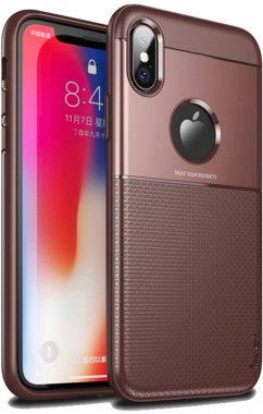 apple brown case chehol design grid hybrid ipaky iphone nakladka serieselegant shield tpuxsmax