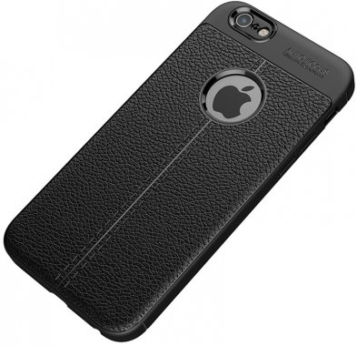 apple black case chehol ipaky iphone litchi nakladka series stria tpu66s