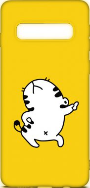 Чехол-накладка TOTO Cartoon Soft Silicone TPU Case Samsung Galaxy S10 Cat Yellow