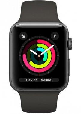 Смарт-часы Apple Watch Series 3 38mm space grey aluminium case with black sport band (MTF02)