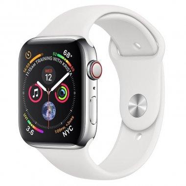 Смарт-часы Apple Watch Series 4 GPS + LTE 44mm Steel w. White Sport b. (MTV22/MTX02)
