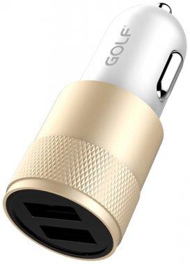 2usb avtomobilnoe charger gfc13car21a gold golf ustrojstvo zaryadnoe