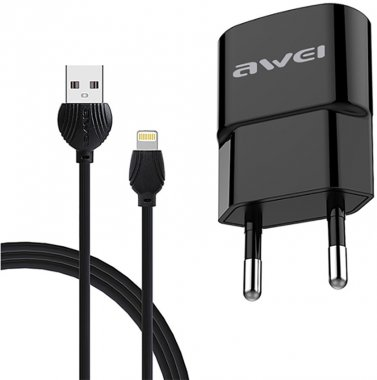 1usb awei black c83221a cable charger lightning plus setevoe travel ustrojstvo zaryadnoe