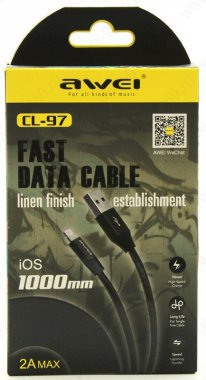 awei black cable cl971m kabel lightning