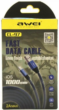 awei blue cable cl971m kabel lightning