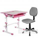 Комплект растущая парта Lavoro L Pink + компьютерное ортопедическое кресло LST4 Grey FunDesk