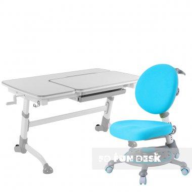 Комплект подростковая парта для школы AmareGrey + ортопедическое кресло SST1 Blue??????? FunDesk