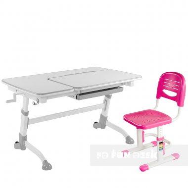 Комплект подростковая парта Amare Grey + детский стул SST3 Pink FunDesk