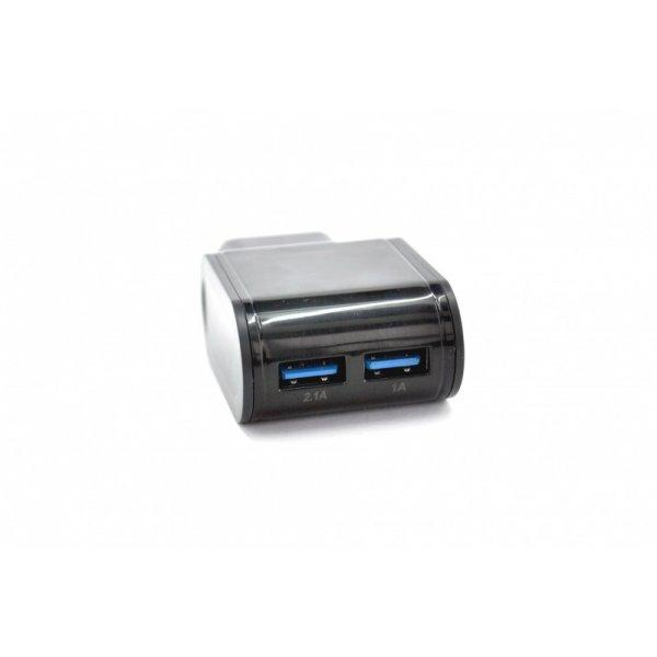 Зарядное устройство 4you A22 (2100mAh - 100%, 2 USB, Led подсветка, Exclusive design) black + microUSB