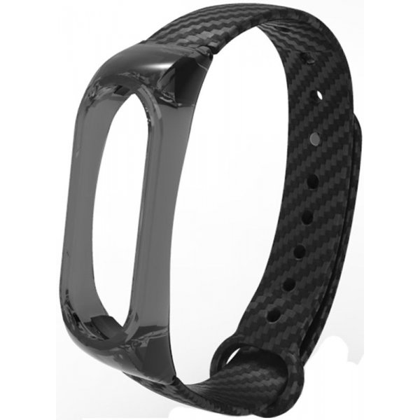 Ремешок UWatch Silicon Carbon Fiber Crystal PC Frame Replacement Wrist Band For Mi Band 2 Black